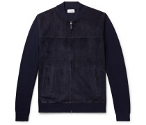 Slim-fit Suede And Virgin Wool Bomber Jacket - Navy