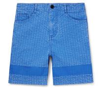 Acid-washed Cotton Shorts - Blue