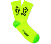 Logo-intarsia Stretch-knit Socks - Yellow