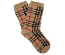 Checked Stretch Cotton-blend Socks