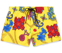Short-length Printed Swim Shorts - Yellow