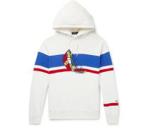 Appliquéd Fleece-back Cotton-blend Jersey Hoodie