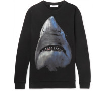 Shark-print Fleece-back Cotton-jersey Sweatshirt - Black