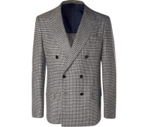 Grey Neruda Slim-fit Double-breasted Houndstooth Virgin Wool Suit Jacket - Gray