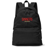 Explorer Embroidered Canvas Backpack - Black