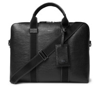 Timeless Cross-grain Leather Briefcase - Black