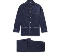 Royal Pin-dot Cotton-jacquard Pyjama Set - Navy