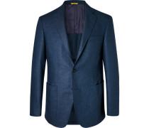 Blue Kei Slim-fit Wool-flannel Suit Jacket - Blue