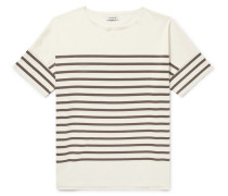 Oversized Striped Cotton-jersey T-shirt - Cream
