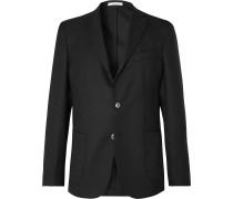 Black Slim-Fit Unstructured Wool-Hopsack Blazer