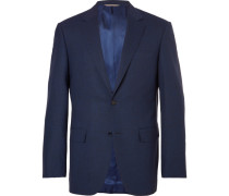 Navy Slim-fit Mélange Stretch-wool Suit Jacket
