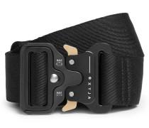 4cm Black Rollercoaster Leather-trimmed Canvas Belt