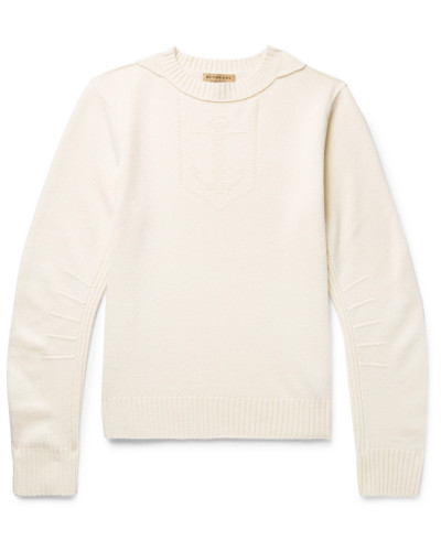 Jacquard-knit Merino Wool And Cashmere-blend Sweater - Cream