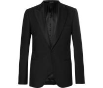Black Slim-fit Wool-blend Tuxedo Jacket