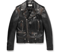 Slim-fit Burnished-leather Biker Jacket