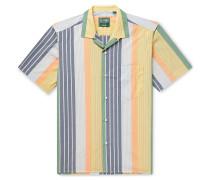 Camp-Collar Striped Cotton Shirt