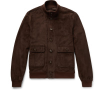 Valstarino Slim-fit Unlined Suede Bomber Jacket - Brown