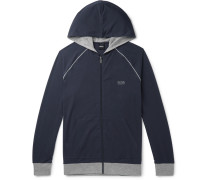 Stretch-cotton Jersey Zip-up Hoodie - Blue