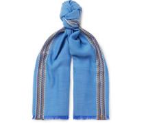 Merino Wool, Cashmere And Silk-blend Jacquard Scarf - Blue