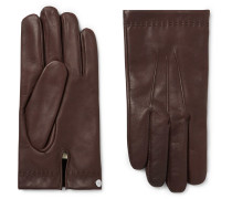 Cashmere-lined Leather Gloves - Dark brown