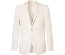 Ecru Kei Slim-fit Linen And Silk-blend Suit Jacket - Ecru