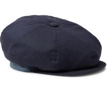 Linen Flat Cap - Navy