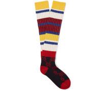 Striped Logo-jacquard Ribbed-knit Socks - Multi