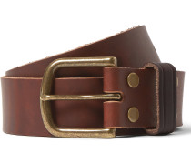 4cm Brown Distressed Leather Belt - Brown