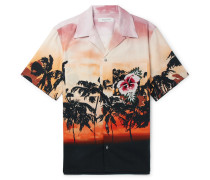 Camp-collar Embellished Printed Cotton-poplin Shirt