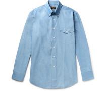 Slim-fit Button-down Collar Cotton-chambray Shirt - Mid denim