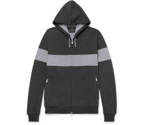 Striped Cotton-blend Jersey Zip-up Hoodie - Anthracite