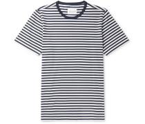 Striped Cotton-jersey T-shirt - Navy