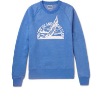 Printed Mélange Fleece-back Cotton-blend Jersey Sweatshirt