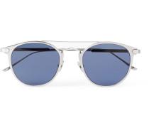 Signature C De Cartier Round-frame Silver-tone Sunglasses