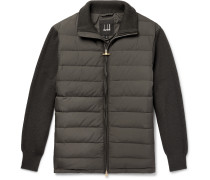 Ribbed Merino Wool-Blend and Quilted Shell Down Jacket