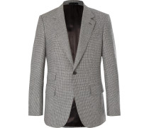 Grey Slim-fit Puppytooth Wool Suit Jacket - Gray