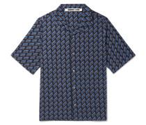 Camp-Collar Logo-Print Cotton-Poplin Shirt