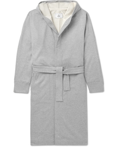 Loopback Cotton-jersey Hooded Robe - Gray