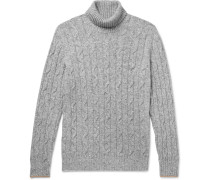 Contrast-tipped Mélange Cable-knit Rollneck Sweater - Gray