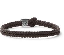 Intrecciato Leather And Oxidised Silver-tone Bracelet