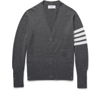 Slim-fit Striped Cashmere Cardigan - Gray