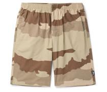 Camouflage-Print Cotton Drawstring Shorts