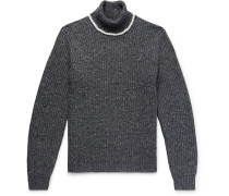 Contrast-Tipped Ribbed Merino Wool-Blend Rollneck Sweater