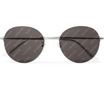 Round-Frame Silver-Tone Logo-Print Sunglasses