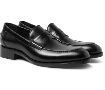 Ian Leather Penny Loafers - Black