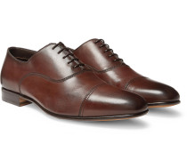 Leather Cap-toe Oxford Shoes - Brown