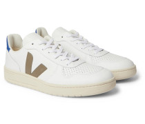 V-10 Rubber-Trimmed Leather Sneakers