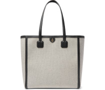 Antibes Full-Grain Leather-Trimmed Canvas Tote Bag