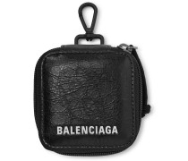 Arena Logo-Print Creased-Leather Pouch
