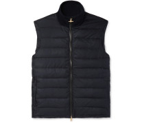 Leather-Trimmed Quilted Shell Down Gilet